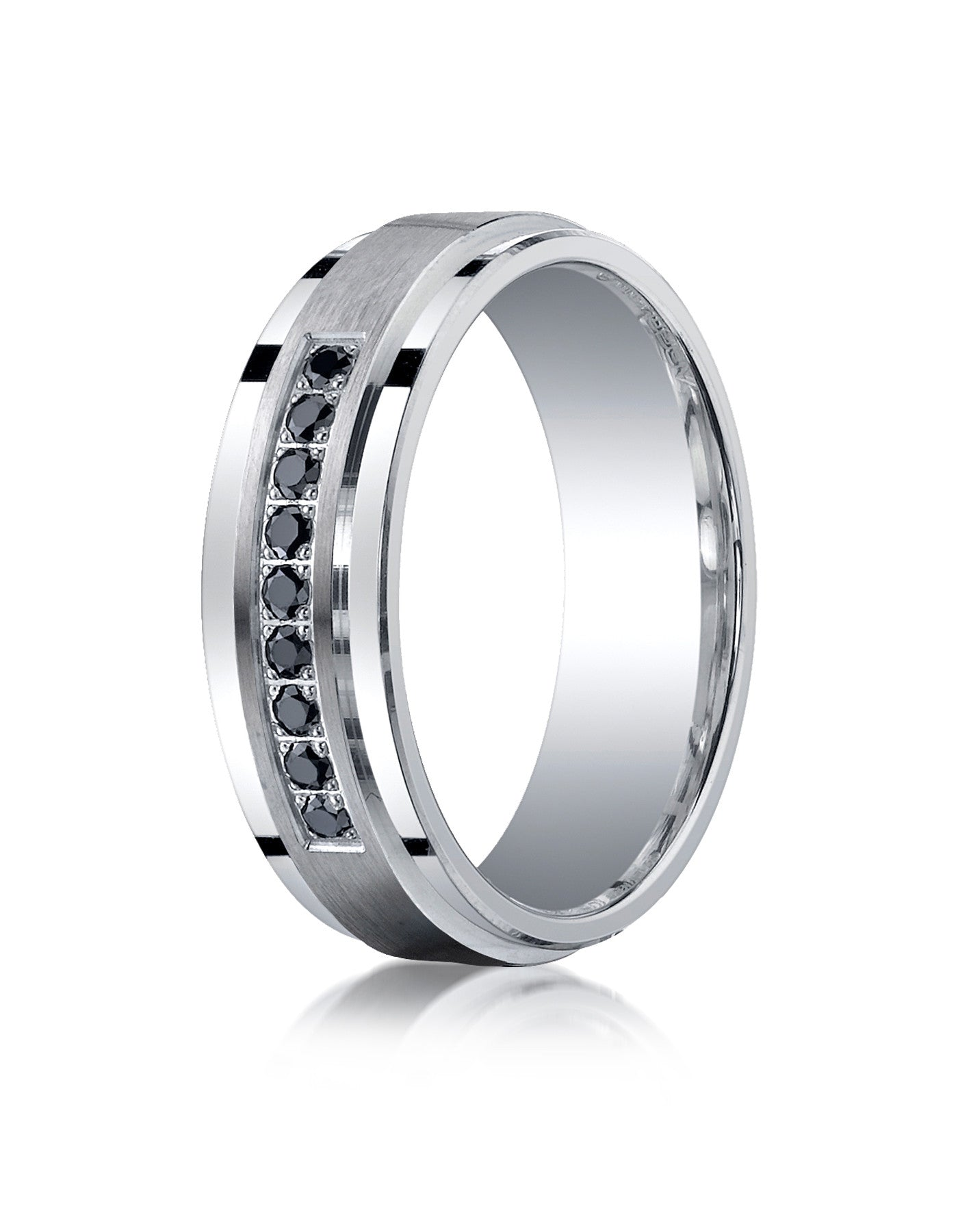 munster men s argentium silver 9 stone black diamond wedding band
