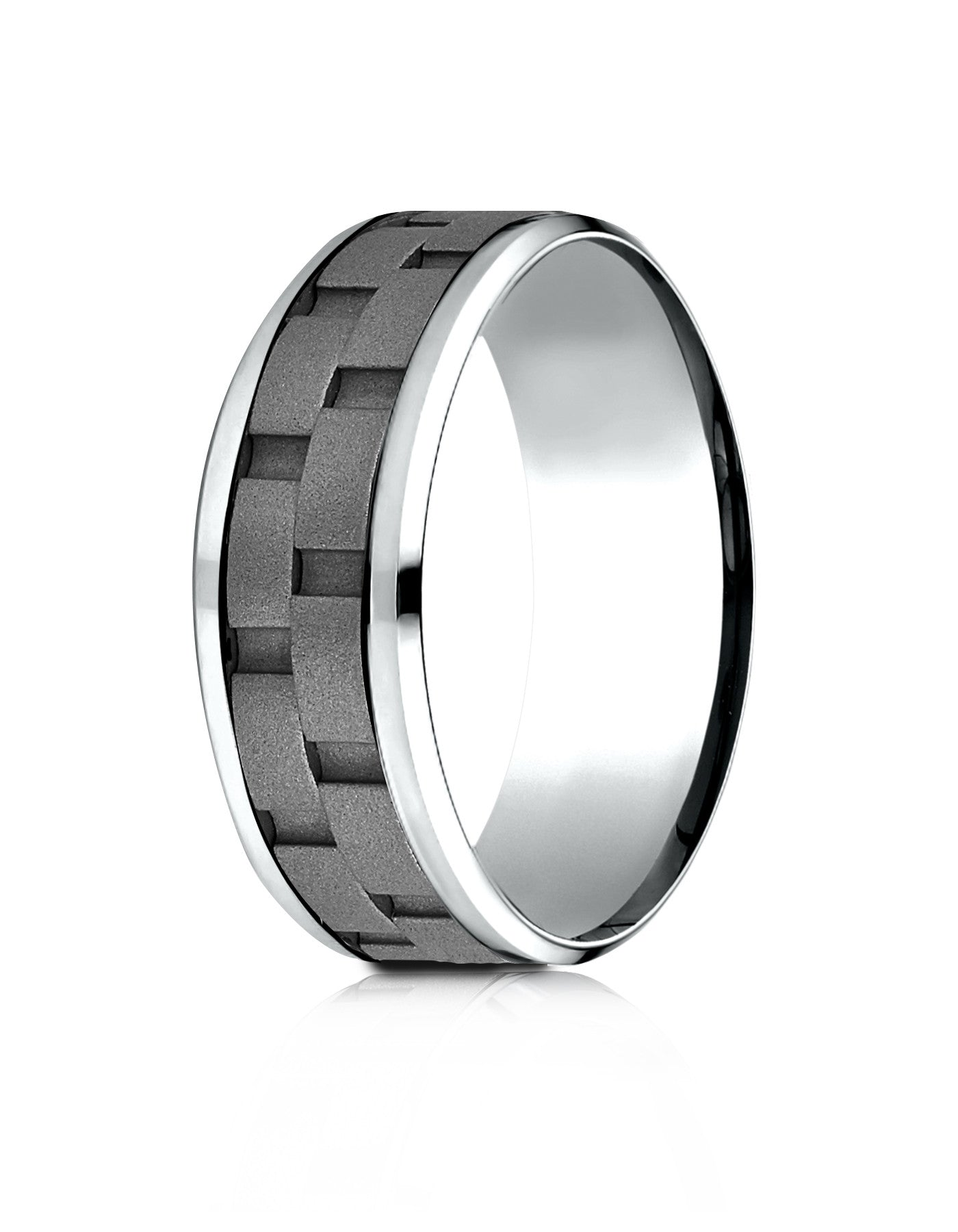 ANACONA Mens Cobalt Wedding Band Link Pattern by Benchmark
