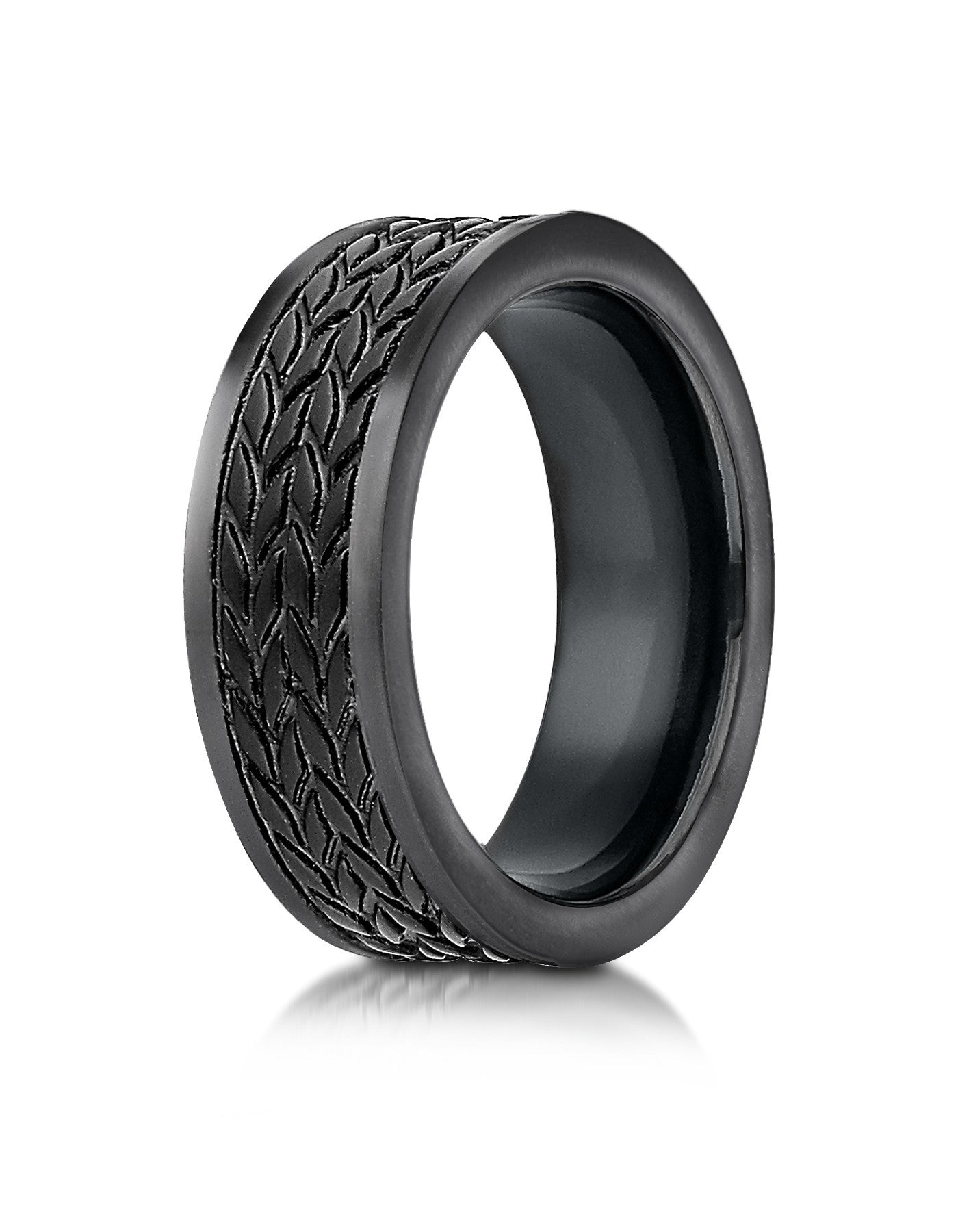 CAPRI Black Cobalt Wedding Band For Men With Tire Tread Pattern