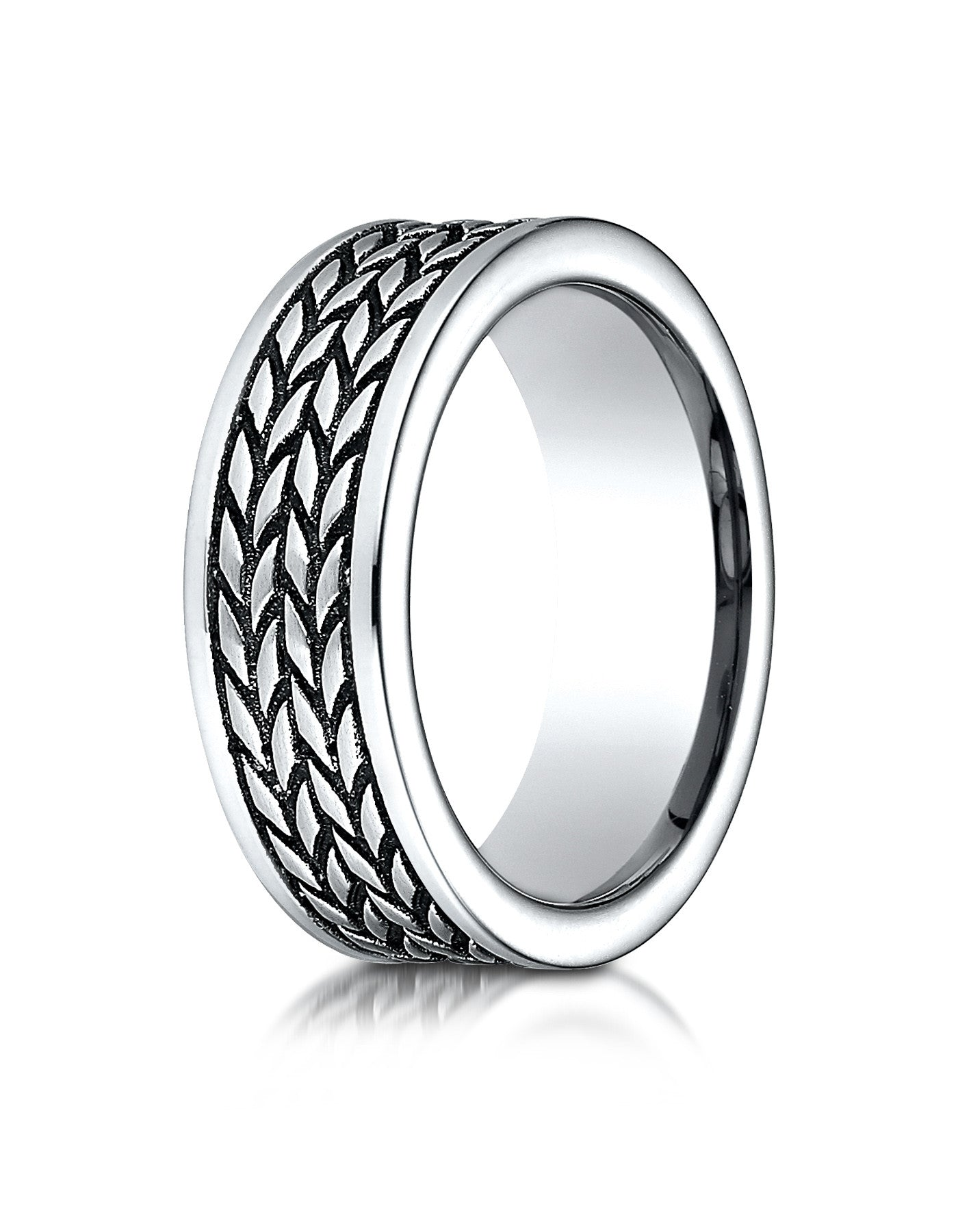 teramo mens cobalt wedding band with tire tread pattern - Cobalt Wedding Rings