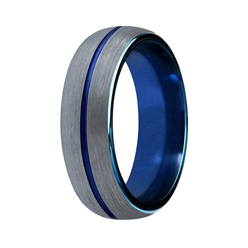 Men S Two Tone Silver Blue Tungsten Wedding Band Grooved Matte