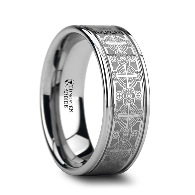ABBEY Flat Grooved Tungsten Wedding Band for Men with Cross