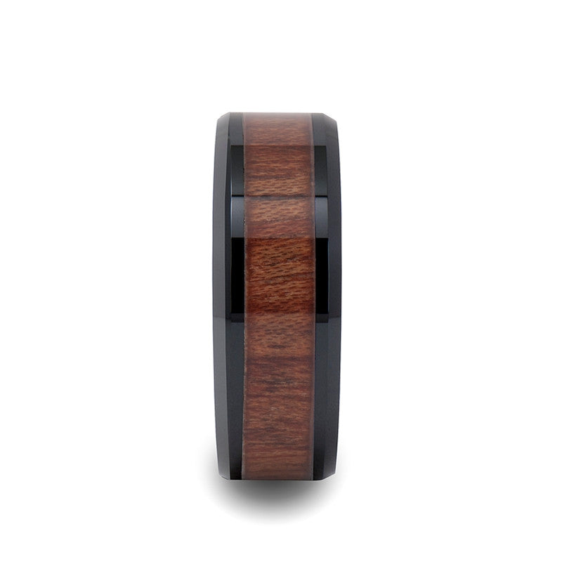 DURANGO Black Ceramic Wedding Band for Men with Wood Inlay