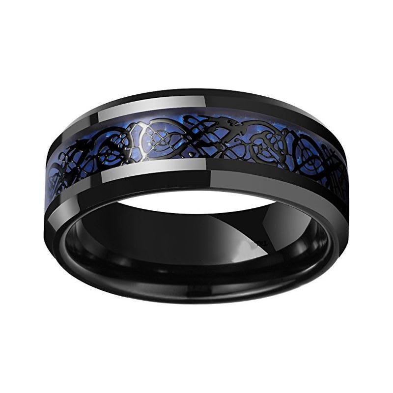 Menu0027s Blue Celtic Dragon Carbon Fiber Black Tungsten Wedding Band