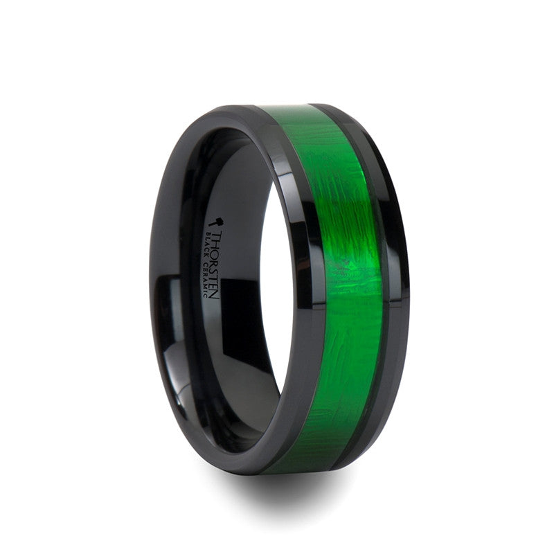lumen black mens ceramic wedding band with green inlay - Green Wedding Rings