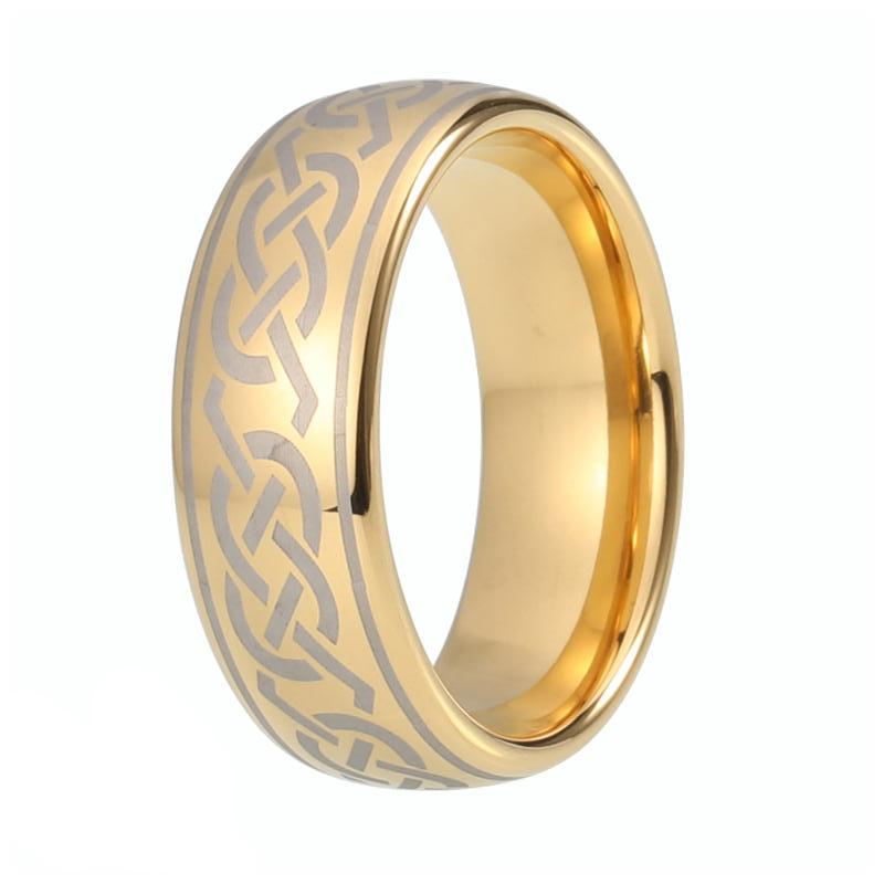 Men S Gold Plated Tungsten Celtic Wedding Band Engraved Domed Ring