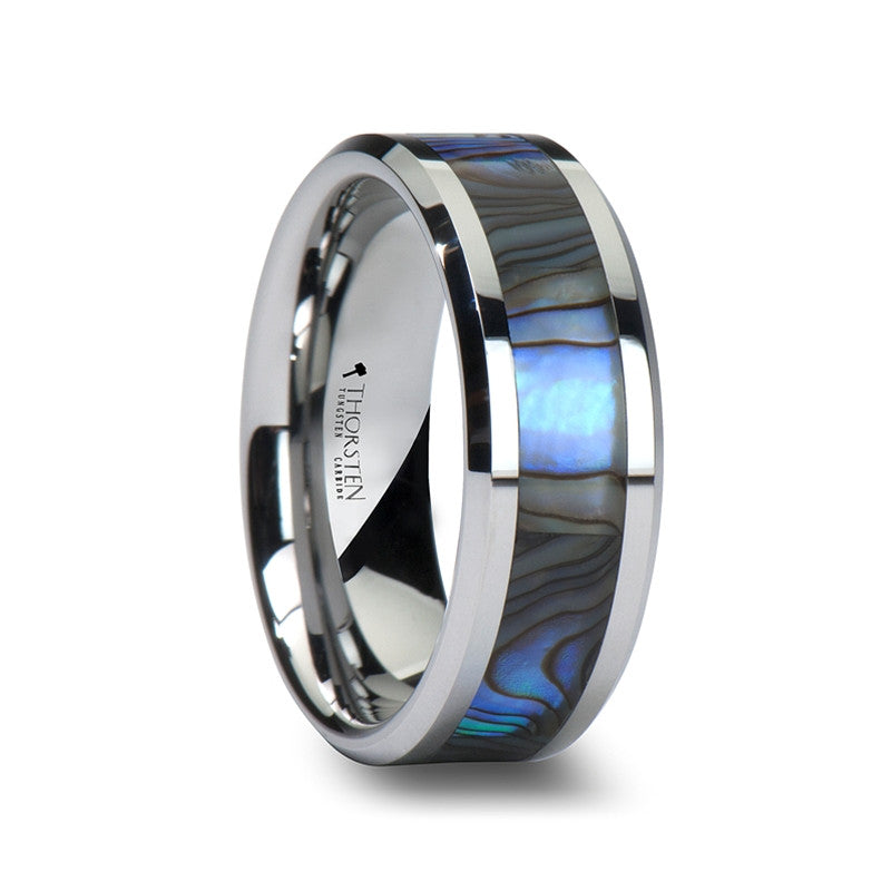 Attractive PACIFIC Menu0027s Tungsten Wedding Band With Mother Of Pearl Inlay