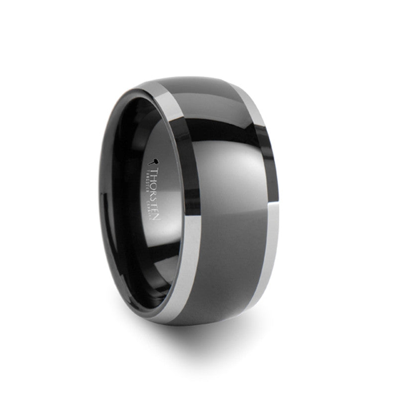 KINGDOM Rounded Black Tungsten Wedding Band for Men Wedding Bands HQ
