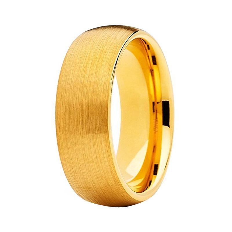 Men S Yellow Gold Tungsten Wedding Band Matte Domed Ring For Him