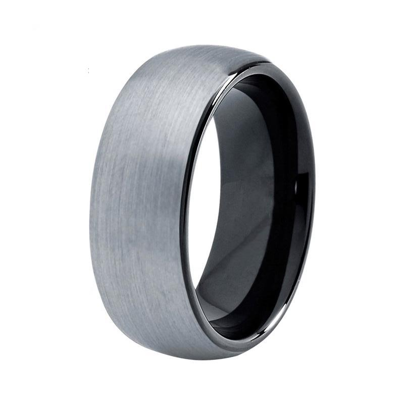 Mens Silver Black Tungsten Wedding Band Domed Matte Two Tone