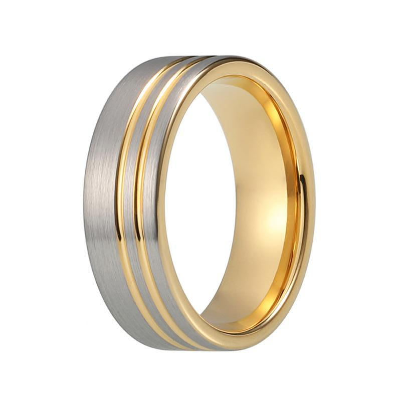 Mens Silver Yellow Gold Tungsten Wedding Band Matte Two Tone