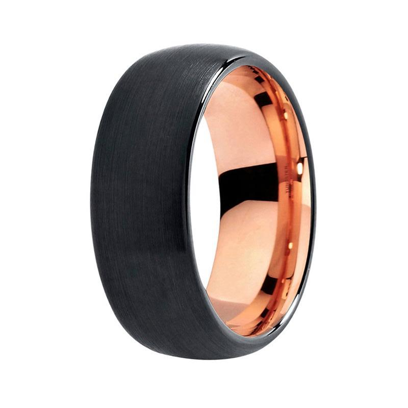 Menu0027s Two Tone Black And Rose Gold Wedding Band   Unique Domed Matte