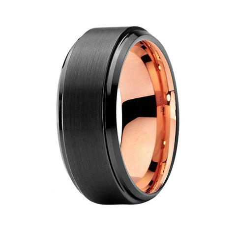men s two tone black tungsten wedding band rose gold unique ring