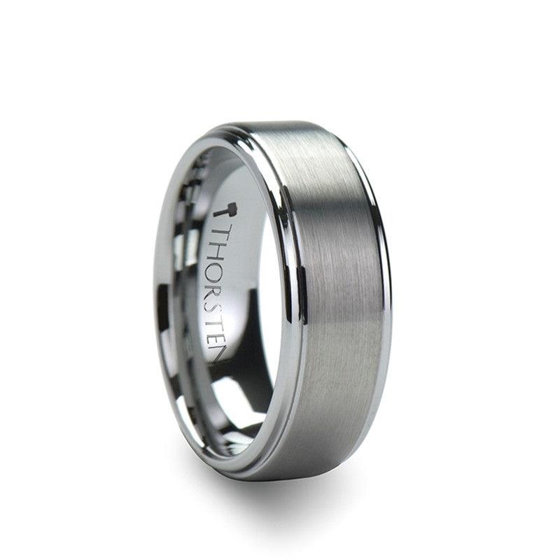 mens tungsten wedding ring andros brushed silver tungsten wedding band for men 5804