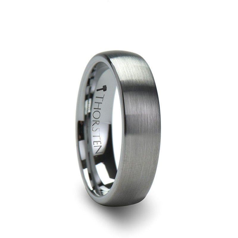 HERMES Brushed Rounded Silver Tungsten Wedding Band for Men Women