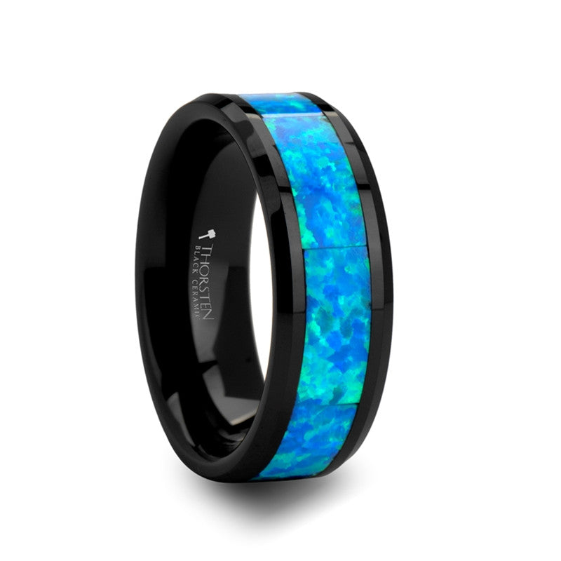 poseidon mens black ceramic wedding band with blue opal inlay - Ceramic Wedding Rings