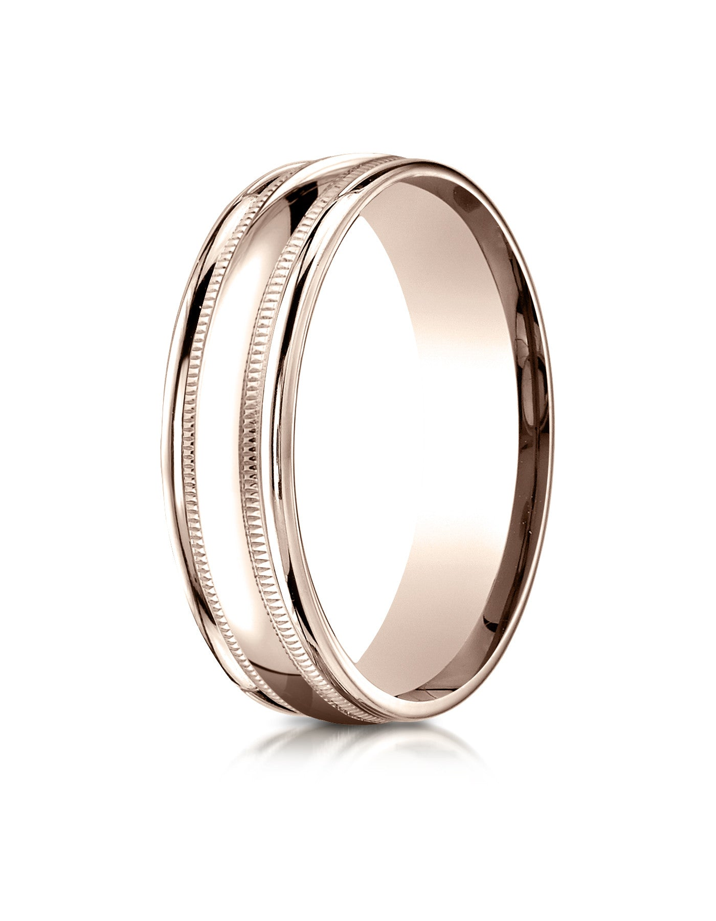 ottawa 14k rose gold w milgrain edge mens wedding band