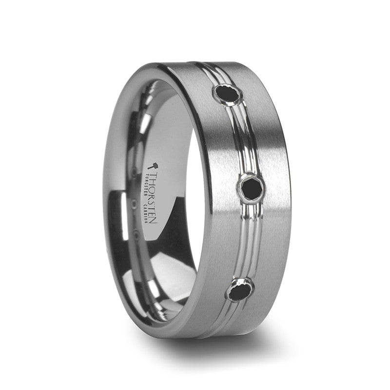 REGAL Menu0027s Tungsten Wedding Band With Triple Black Diamonds