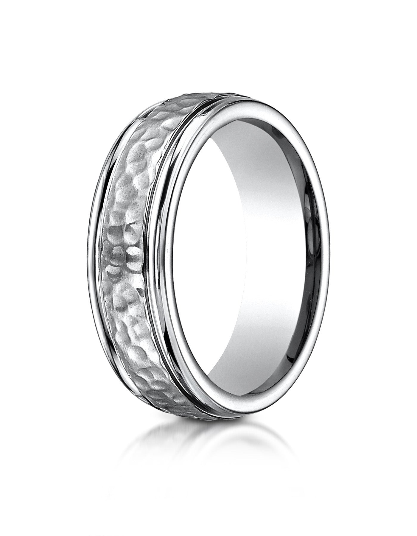CARACAS HammeredFinished Titanium Wedding Band for Men Wedding