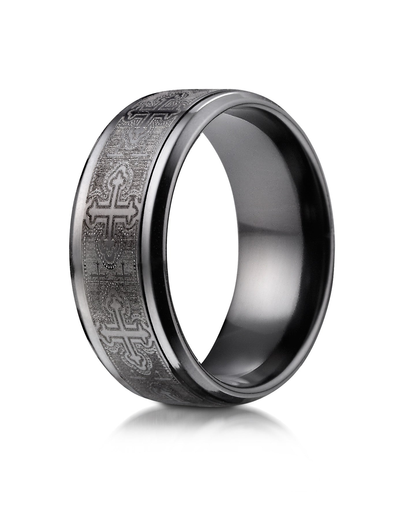 PORTO Men s Black Titanium Cathedral Cross Wedding BandPORTO Men s Black Titanium Cathedral Cross Wedding Band   Wedding  . Mens Cross Wedding Band. Home Design Ideas