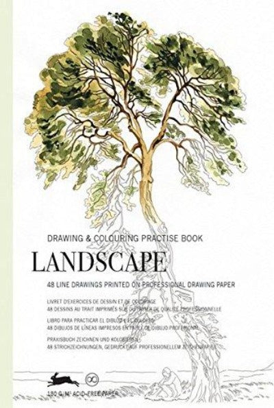 Landscape Drawing & Coloring Practice Book