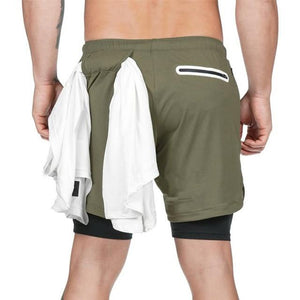 2 in 1 Running Shorts - With Inside Pocket & Towel Hook - FlexActive Fitness