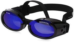 Doggles Ils Small Metallic Black Frame and Blue Lens