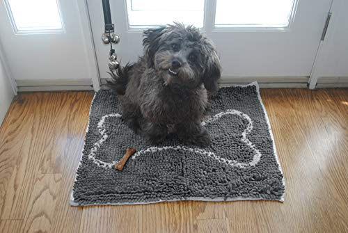 "Soggy Doggy Slopmat Small 18"" x 24"" Microfiber Chenille Placemat for Sloppy Dogs, Grey"