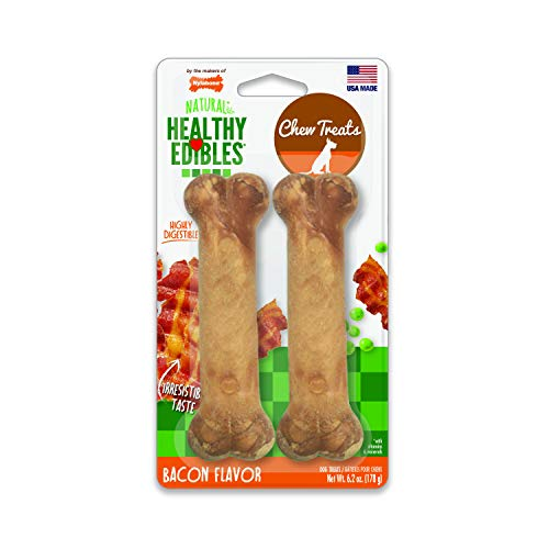 Nylabone Healthy Edibles Bacon Flavored Dog Treats | All Natural Grain Free Dog Treats Made In the USA Only | Small and Large Dog Chew Treats | 2 Count
