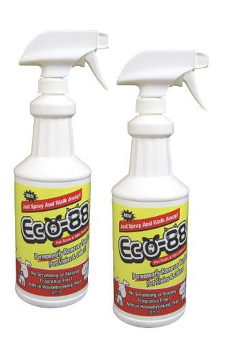 Eco-88 Pet Stain Odor Eliminator Spray- Puppy Training, Carpet Cleaning, Professional Strength Spray for Eliminating Dog Cat Animal Urine Destroyer Feces Drool Vomit Smells, Training Aid, Pack of 2