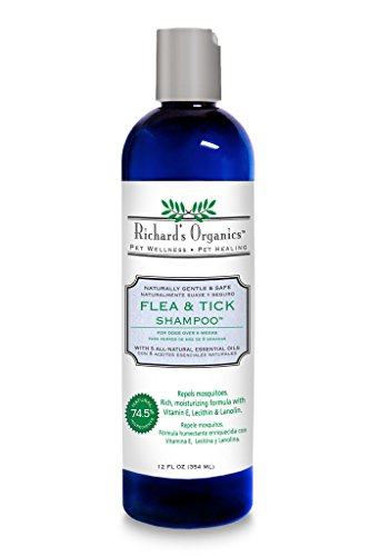 Richard's Organics Flea and Tick Shampoo for Dogs – 100% All-Natural Actives Kills Fleas, Ticks and Repels Mosquitos – Flea Shampoo is Gentle, Won't Dry Skin, Great Smelling Essential Oils (12oz bottle)