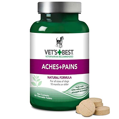 Vet's Best Aspirin Free Aches + Pains Dog Supplement | Vet Formulated for Dog Pain Support and Joint Relief | 50 Chewable Tablets