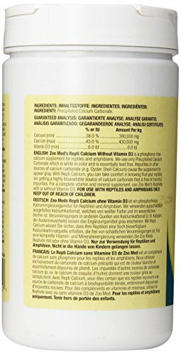 Zoo Med Reptile Calcium without Vitamin D3, 12-Ounce