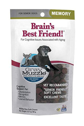 ARK NATURALS Gray Muzzle Brain's Best Friend Dog Chews for Senior Dogs, Supports Cognitive Health and Enhances Brain Retention, Functional Natural Ingredients, 180 Count