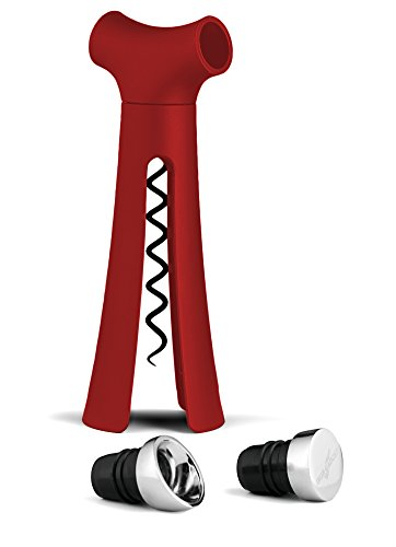 The Know-it-All 4 in 1 Wine Opener-Screwpull Corkscrew with Pour Spout, Bottle Stopper, Wine Foil Cutter (Red)