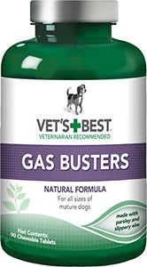 Vet's Best Gas Busters Dog Supplements | Gas, Bloating, Constipation Relief and Digestion Aid for Dogs | 90 Chewable Tablets