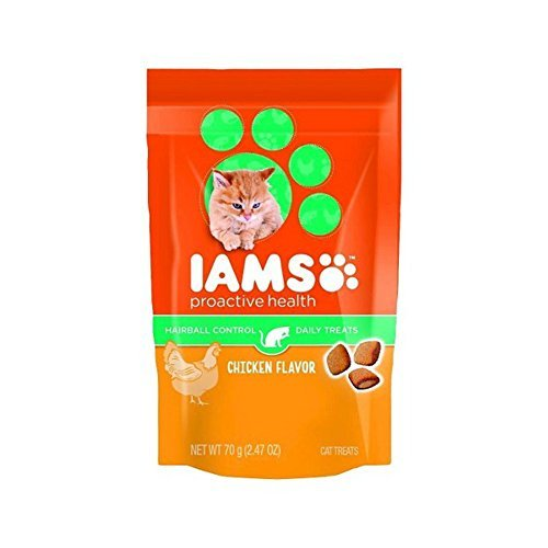 IAMS Proactive Health Hairball Care Chicken Flavor Daily Treats for Cats, 2.47 Oz (Pack of 4)