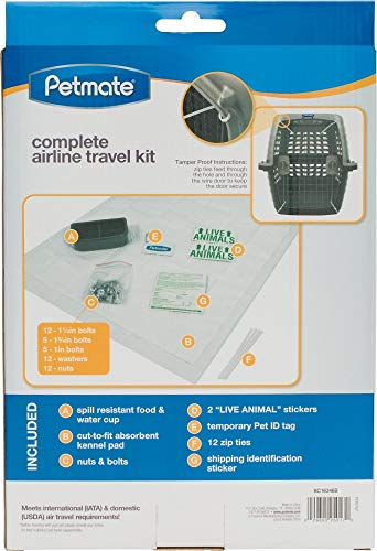 Petmate 290300 Kennel Travel Kit for Pets with Food and Water Bowl Added Security Hardware