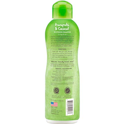 TropiClean Awapuhi and Coconut Pet Shampoo, Whitening Shampoo for Whiter and Brighter Coats, Color Enhancing, 20 oz.