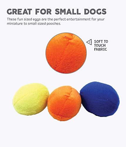 Outward Hound Squeakin' Eggs - Interactive Squeaky Dog Toy - Soft Plush Stuffed Toys - Ideal for Puppy or Small Dog - Egg Babies Replacement, 3 Pack