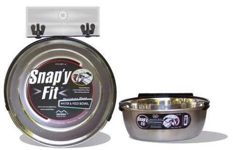 MidWest Homes for Pets Snap'y Fit Stainless Steel Food Bowl / Pet Bowl, 2 qt. for Dogs & Cats
