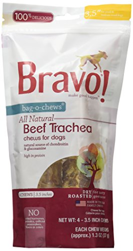 Bravo! 4 Count Beef Trachea Food, 3.5""