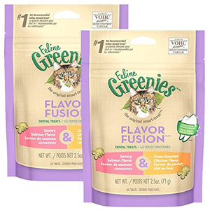 FELINE GREENIES Dental Cat Treats, Chicken & Salmon, 5 oz.