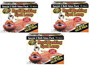 Zoo Med Reptile Basking Spot Lamp 75 Watts - 6 Bulbs Total (3 Packs with 2 per Pack)
