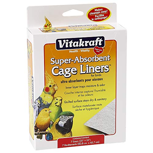 "Vitakraft 512071 7-Pack Super Absorbent Cage Liners for Birds, 20"" X 18"""