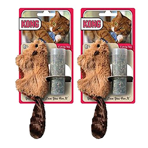 KONG Beaver Refillable Catnip Toy (Colors Vary), 2 Pack