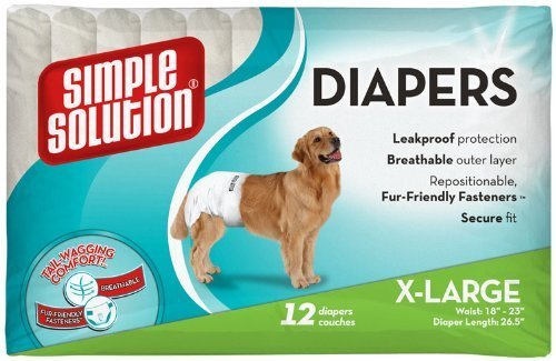 Simple Solution Pupsters Disposable Diapers for Waist 18 to 23-Inches, X-Large, Pack of 12 (2 Pack)