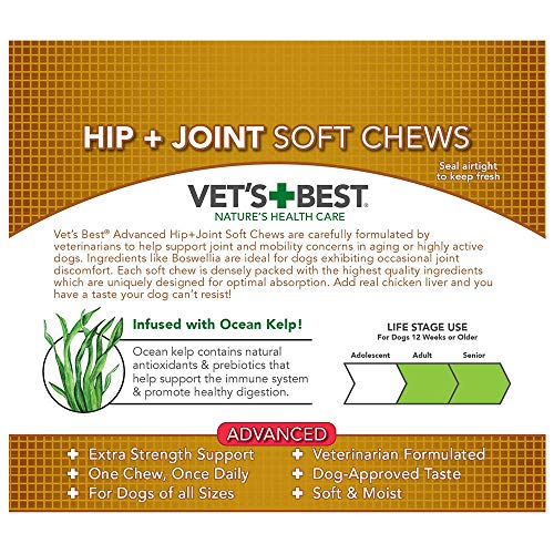 Vet's Best Hip & Joint Soft Chew Dog Supplements | Formulated with Glucosamine & Chondroitin to Support Dog Joint & Cartilage Health | 30 Day Supply