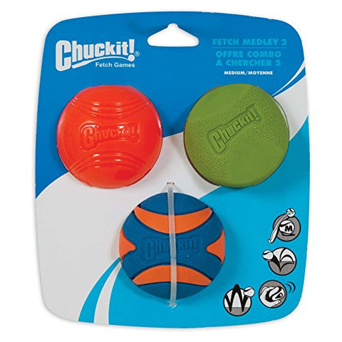 Chuckit! Fetch Ball Medley 2 Trio, Medium, 3 Pack