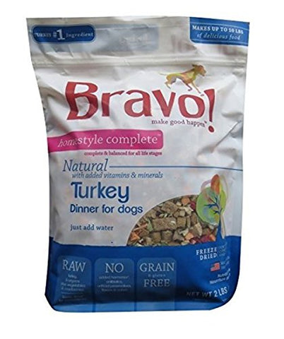 Bravo Homestyle Freeze Dried Dinner Turkey Food, 2 lb